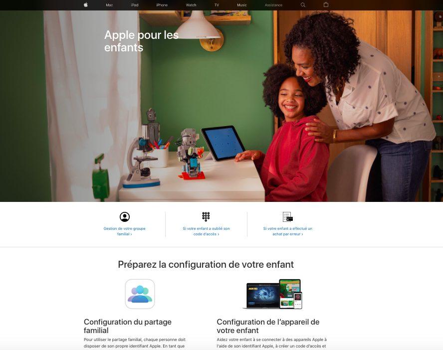 Page Web Apple Pour Les Enfants Apple propose une section sur son site nommée « Apple pour les enfants » pour aider les parents