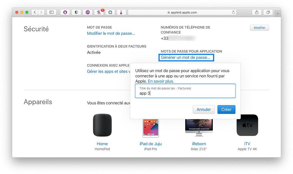 appleid generer mdp Comment augmenter la sécurité de votre compte Apple en utilisant les mots de passe pour application