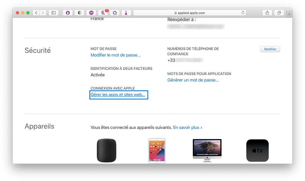 appleid gerer app site Comment augmenter la sécurité de votre compte Apple en utilisant les mots de passe pour application