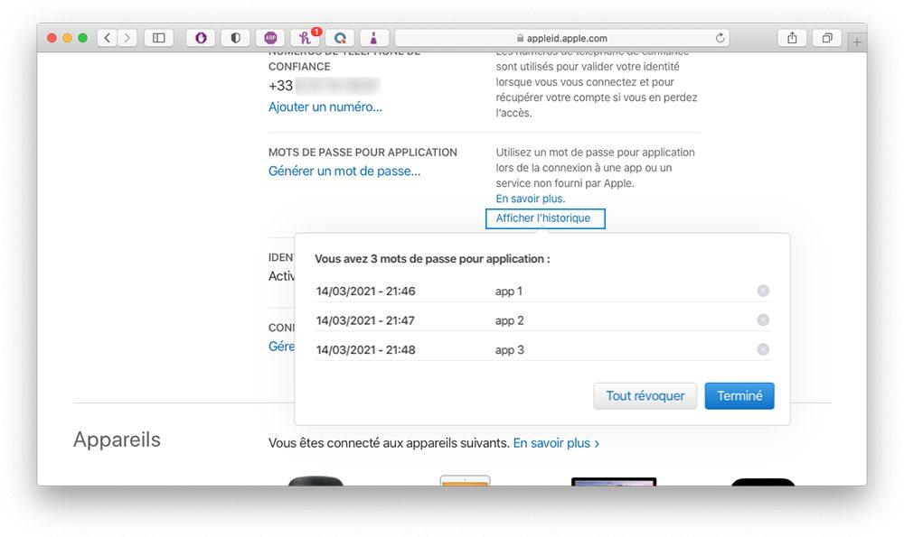 appleid historique mdp genere Comment augmenter la sécurité de votre compte Apple en utilisant les mots de passe pour application