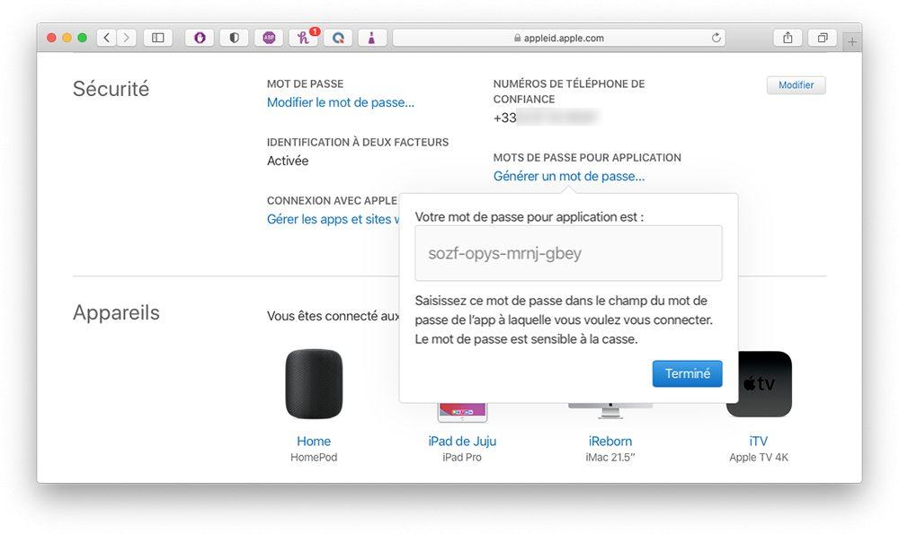 appleid mdp genere Comment augmenter la sécurité de votre compte Apple en utilisant les mots de passe pour application