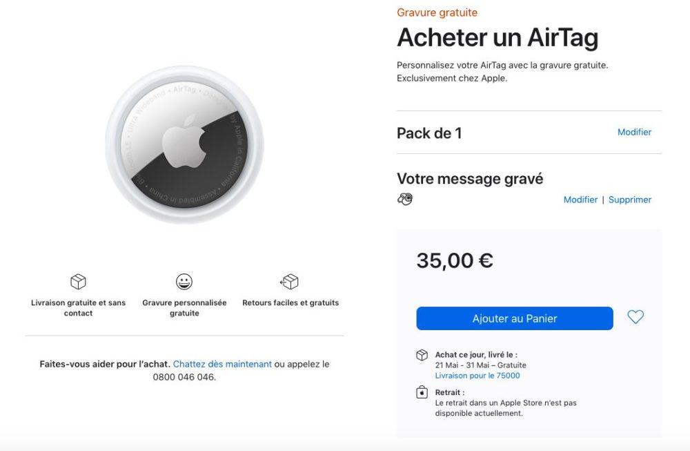 Acheter 1 AirTag Apple Store En Ligne Les délais de livraison de lAirTag passent à mai