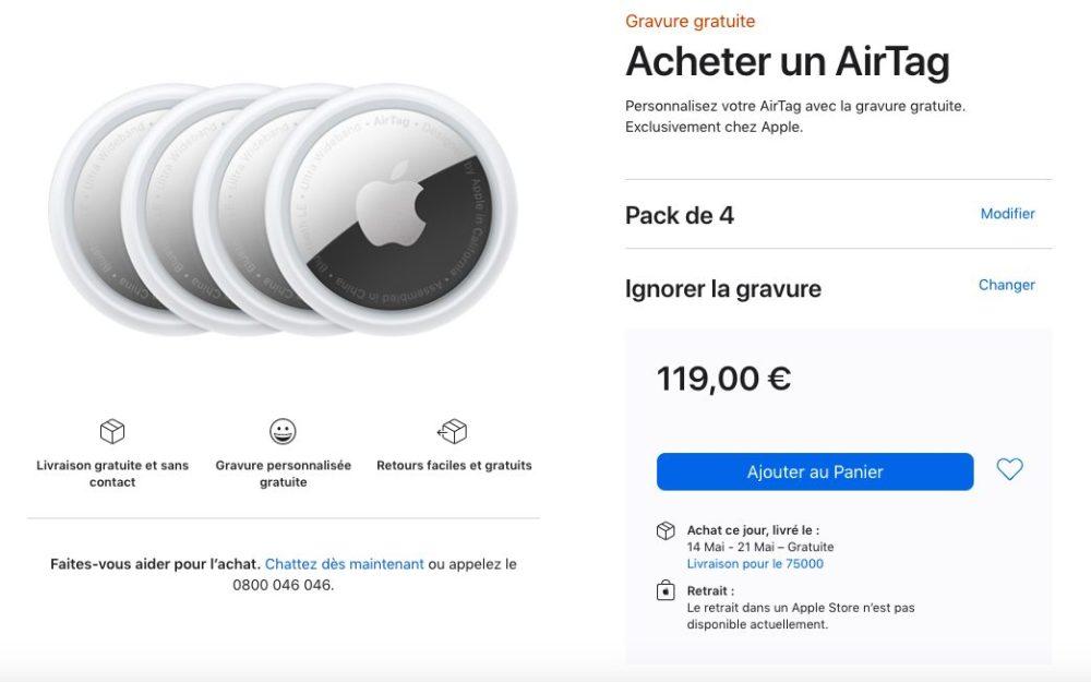 Acheter Pack 4 AirTag Apple Store En Ligne Les délais de livraison de lAirTag passent à mai