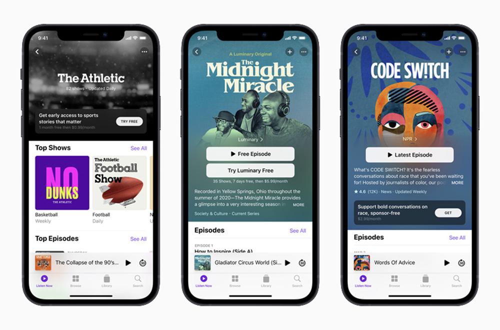 Apple iPhone 12 Podcasts [Keynote avril 2021]   Apple présente Apple Podcast Subscriptions, son offre de podcasts payants