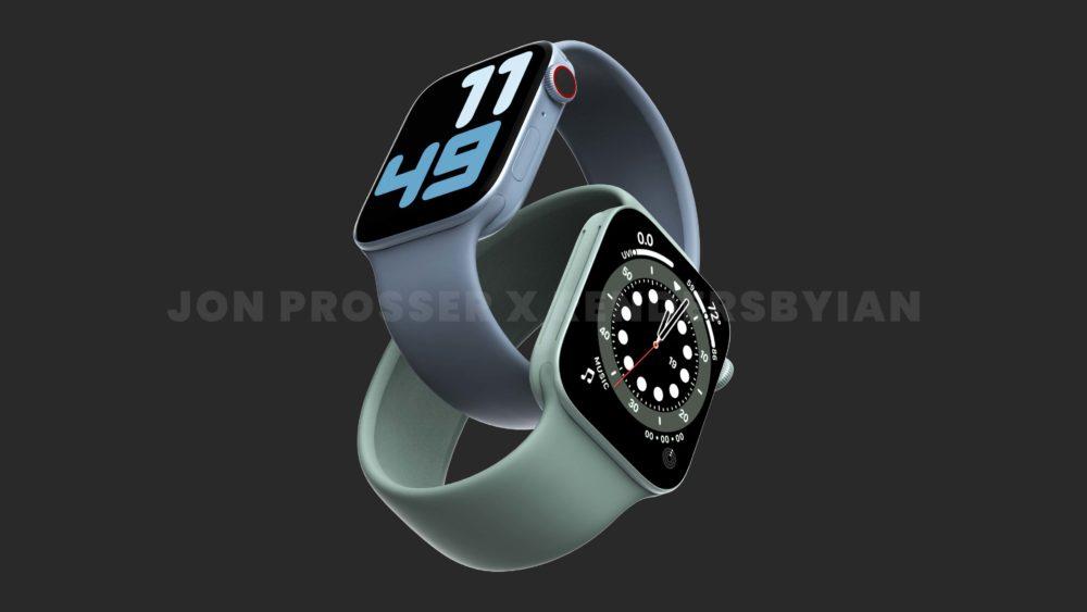 Apple Watch Series 7 Bleu Vert 1 Apple Watch Series 7 : le design est dévoilé avec plus de rendus