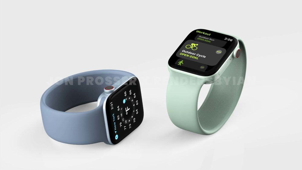 Apple Watch Series 7 Bleu Vert Apple Watch Series 7 : le design est dévoilé avec plus de rendus