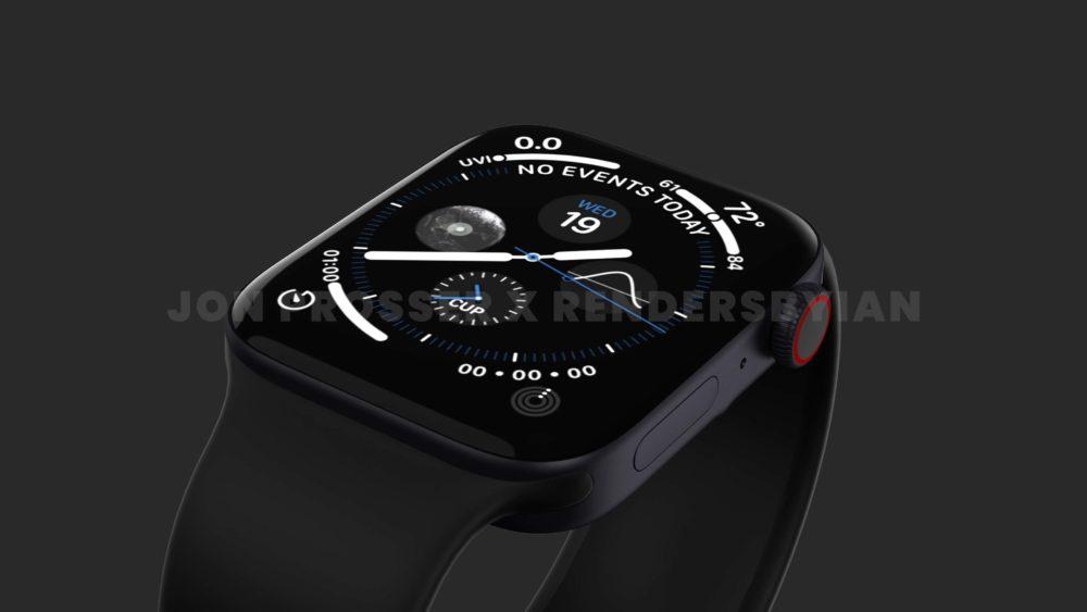 Apple Watch Series 7 Noir Apple Watch Series 7 : le design est dévoilé avec plus de rendus