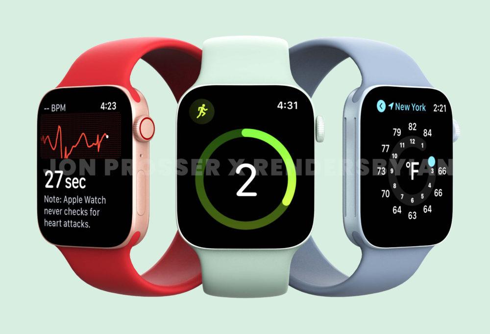 Apple Watch Series 7 Rouge Vert Bleu Une plus grosse batterie et de nouveaux coloris pour lApple Watch Series 7 ?