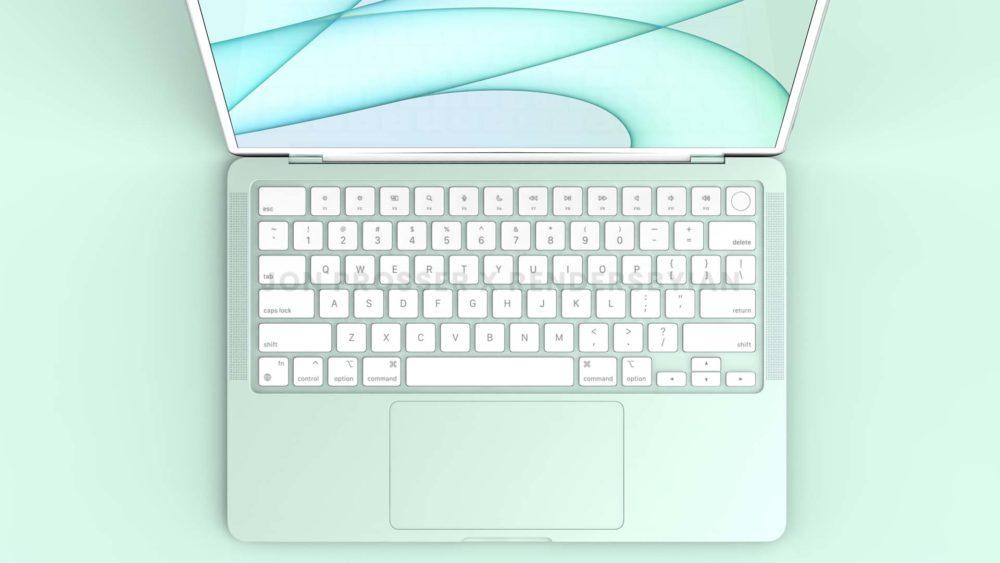 Prochain MacBook Air Clavier MacBook Air en plusieurs coloris : des rendus dévoilent des bordures et des touches du clavier blanches...