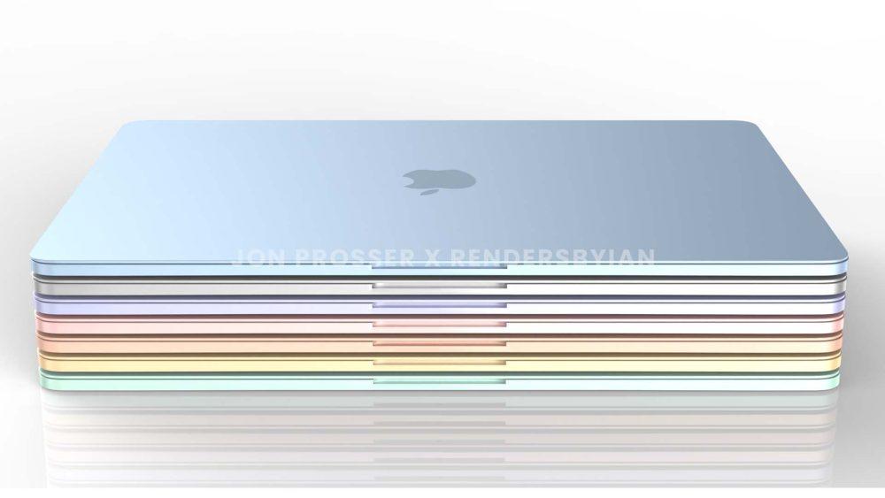 Prochain MacBook Air Coloris 1 MacBook Air en plusieurs coloris : des rendus dévoilent des bordures et des touches du clavier blanches...