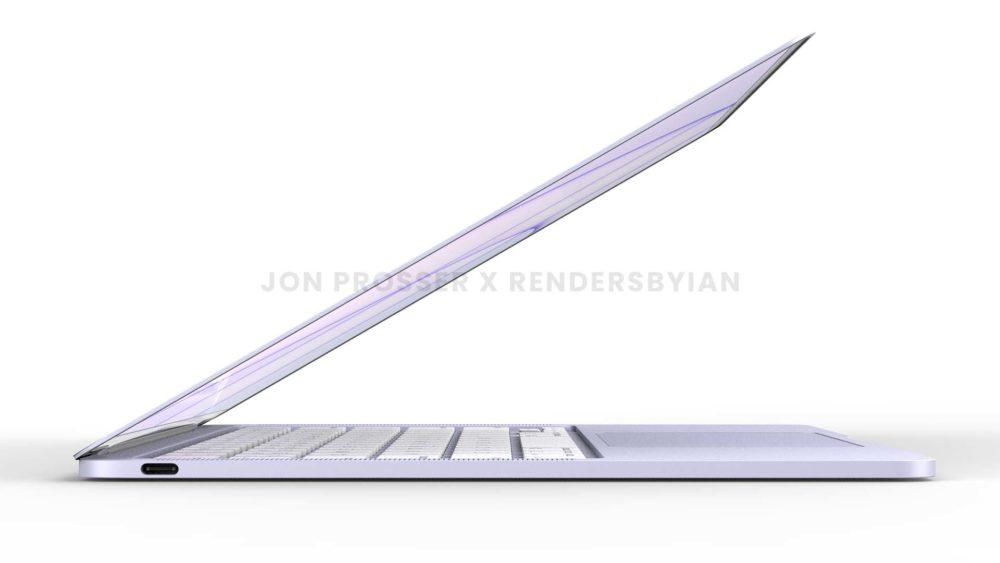 Prochain MacBook Air Mauve MacBook Air en plusieurs coloris : des rendus dévoilent des bordures et des touches du clavier blanches...