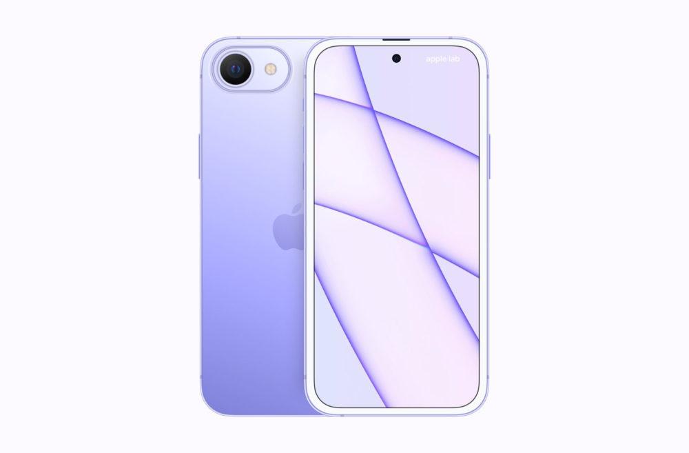 Concept iPhone SE 2023 : un trou dans lécran, écouteur déplacé et plusieurs coloris