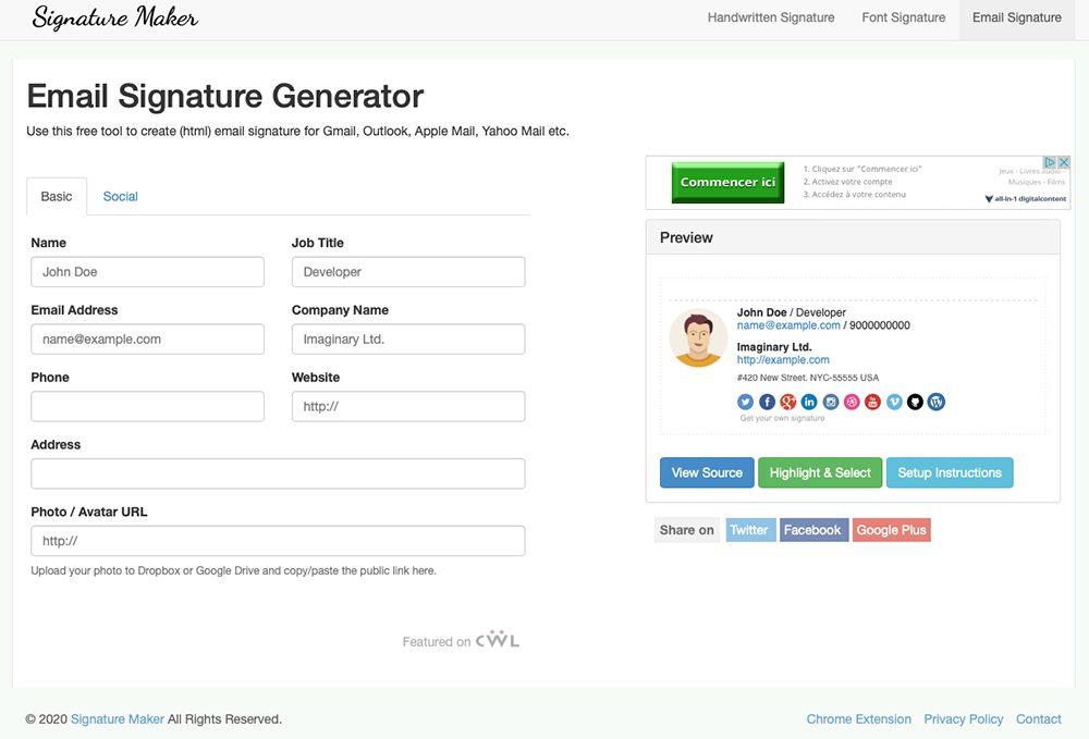 signature maker Top 7 des générateurs de signature d'e mail