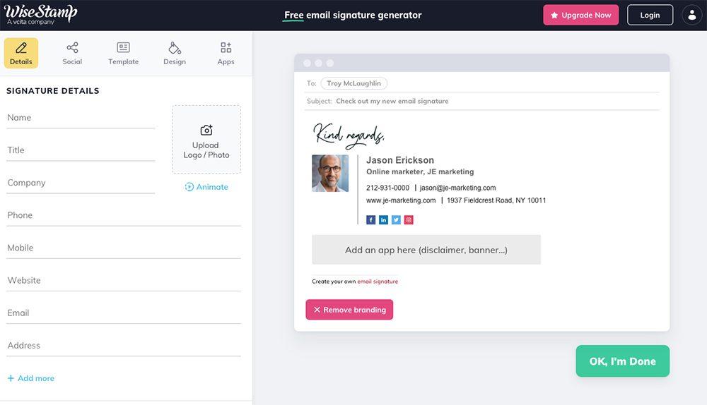 wisestamp Top 7 des générateurs de signature d'e mail