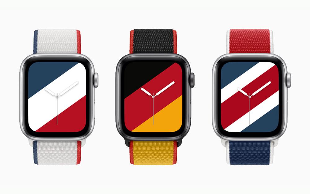 Apple Watch watchOS8 Bracelet Apple Watch France Allemagne Grande Bretagne Apple Watch : Apple dévoile de nouveaux bracelets aux couleurs de 22 pays