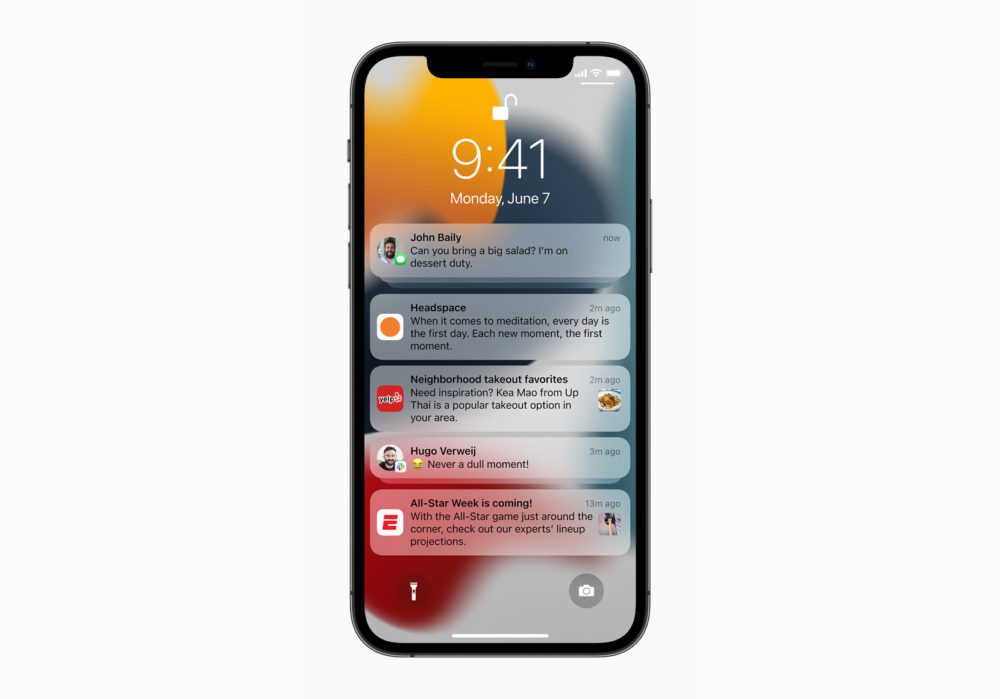 Apple iPhone 12 Pro iOS 15 Notifications [WWDC 2021]   iOS 15 : Live Text, nouveautés dans Plans, Météo, Wallet, partage de médias sur FaceTime...