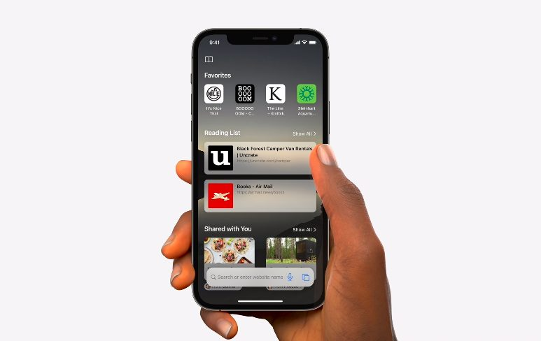 Apple iPhone 12 Pro iOS 15 Safari [WWDC 2021]   iOS 15 : Live Text, nouveautés dans Plans, Météo, Wallet, partage de médias sur FaceTime...