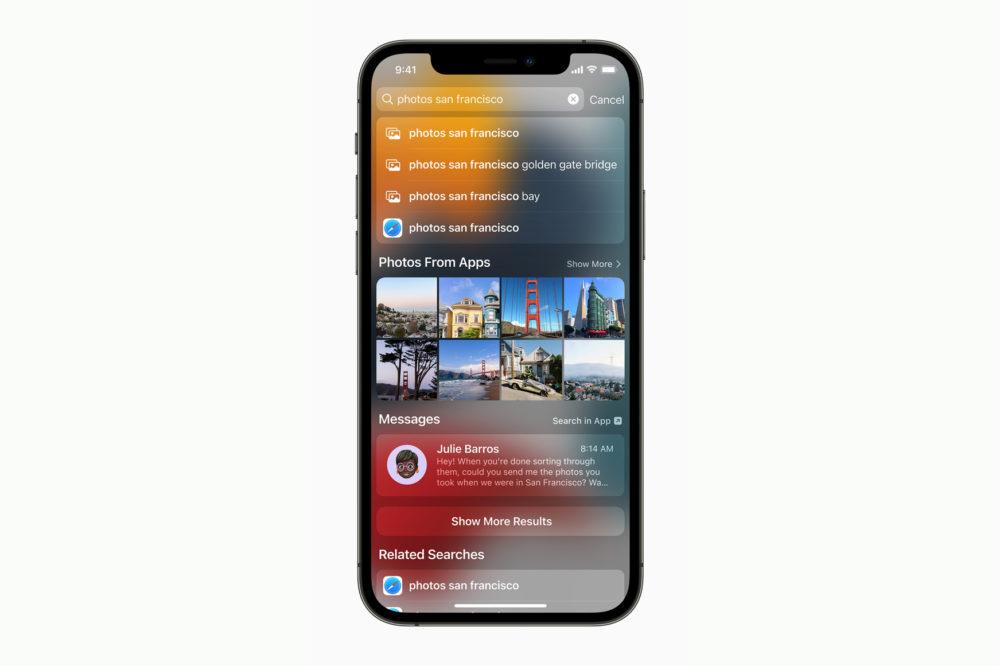 Apple iPhone 12 Pro iOS 15 Spotlight Photos [WWDC 2021]   iOS 15 : Live Text, nouveautés dans Plans, Météo, Wallet, partage de médias sur FaceTime...