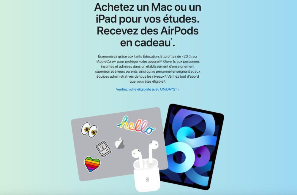 Back to School 2021 en France Le Back to School 2021 dApple en France est là : des AirPods offerts gratuitement à lachat dun iPad ou Mac