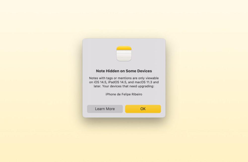 Notes App iOS 15 macOS Monterey Compatibilite Si vous créez une note sous iOS 15 et macOS 12, elle peut ne pas être disponible sur les versions précédentes