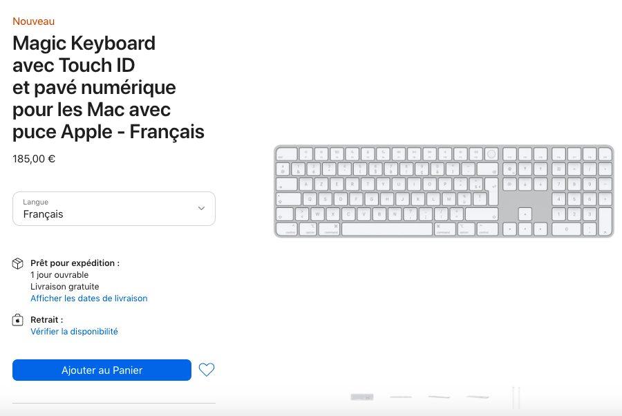 Magic Keyboard avec Touch ID et pave numerique pour les Mac avec puce Apple Prix Le Magic Keyboard avec Touch ID est proposé en achat séparé par Apple