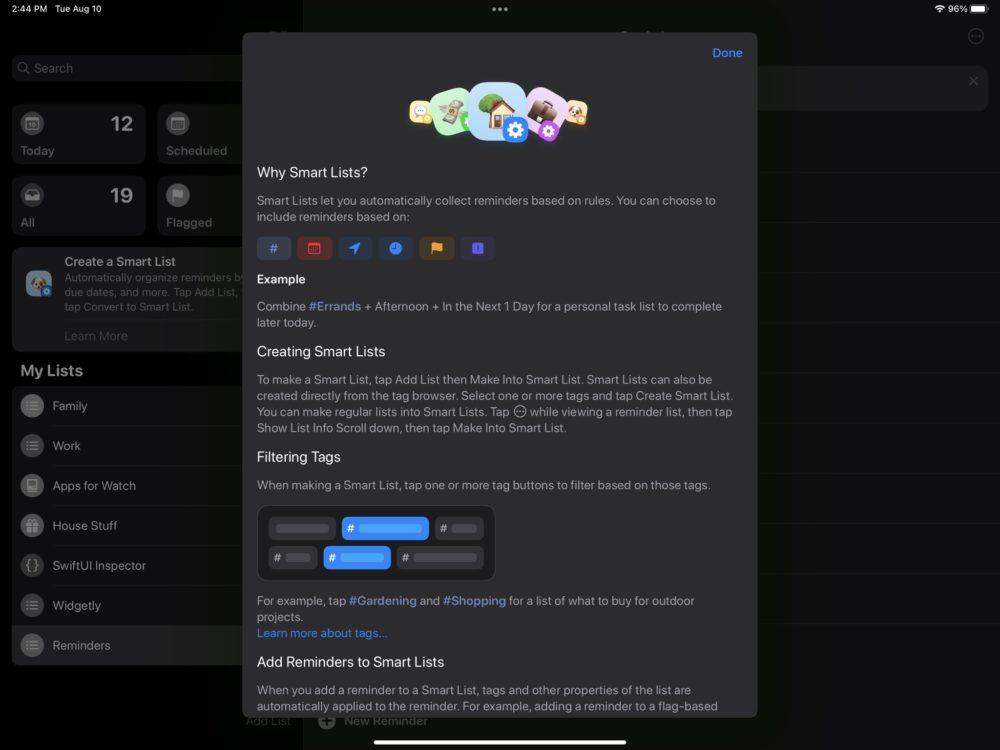 iOS 15 Rappels Listes Intelligentes iOS 15 et iPadOS 15 bêta 5 : voici la liste des nouveautés retrouvées