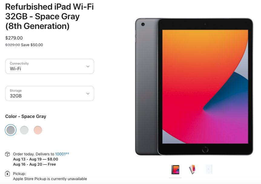 iPad 8 Wi Fi 32GB Gris Sideral Reconditionne Les iPad 8 (2020) reconditionnés sont disponibles aux États Unis