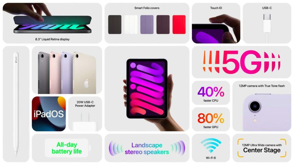 Apple iPad mini 6 Nouveautés Apple dévoile liPad mini 6 : design de liPad Pro, écran de 8,3 pouces, pas de bouton Home, 5G, Apple Pencil 2, USB C...