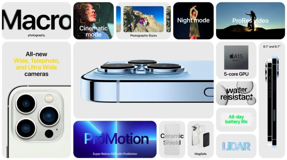 Apple iPhone 13 Pro iPhone 13 Pro Max Nouveautes Apple dévoile liPhone 13 Pro et 13 Pro Max : encoche réduite, affichage 120 Hz, puce A15, plus pour la vidéo...