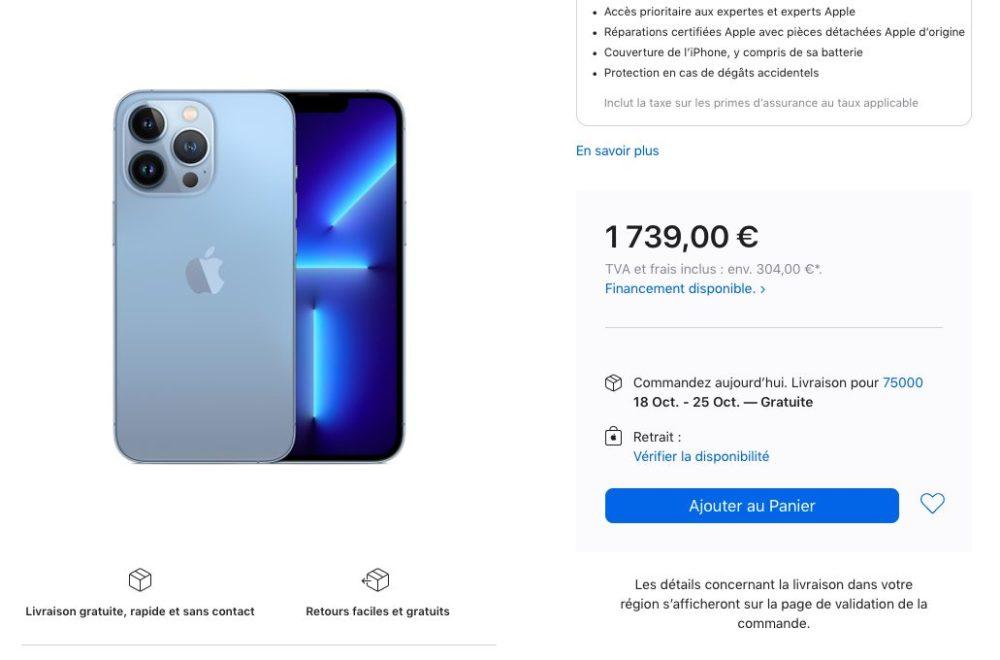 Delai Livraison iPhone 13 Pro 1 To Bleu Alpin iPhone 13 : les délais de livraison sallongent pour certains modèles