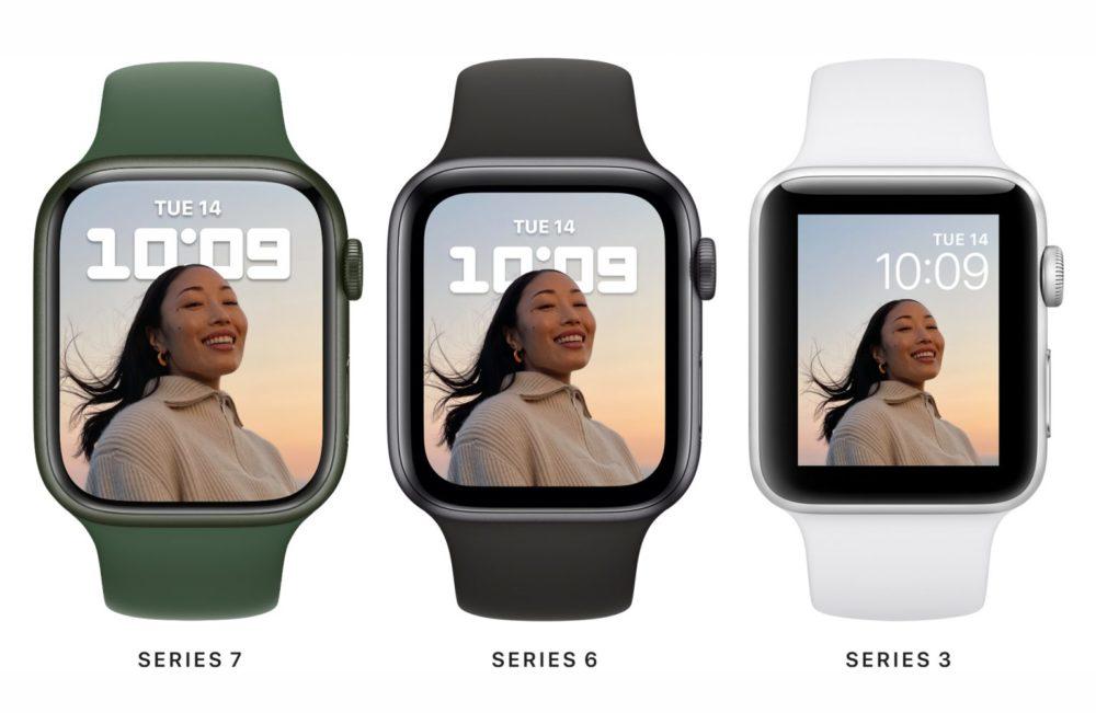 Ecran Apple Watch Series 7 Series 6 Series 3 LApple Watch Series 7 est là : design inchangé, écran plus grand, clavier, nouvelles couleurs, recharge rapide...