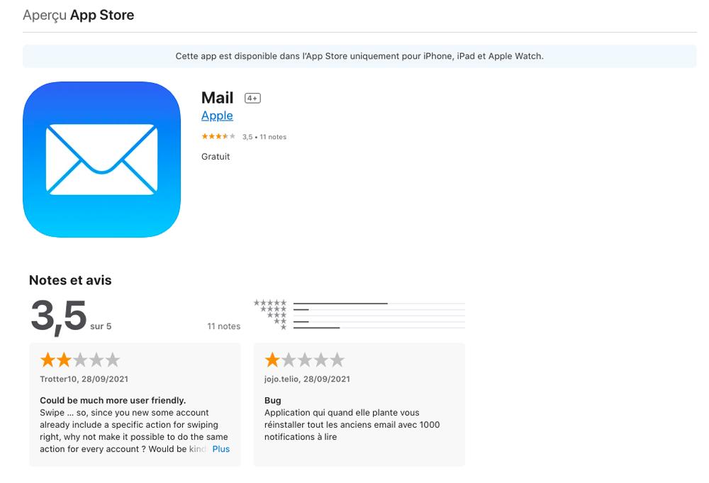 Notes et Avis App Mail Apple sur App Store Il est désormais possible de noter les applications Apple sur lApp Store