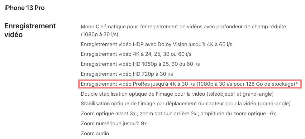 ProRes iPhone 13 Incompatible 128 Go Les iPhone 13 Pro avec 128 Go ne peuvent pas enregistrer des vidéos en ProRes à 4K