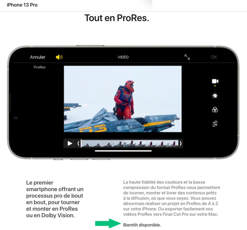 ProRes iPhone 13 Pas Disponible au Lancement Apple indique que le ProRes de liPhone 13 Pro ne sera pas prêt au lancement