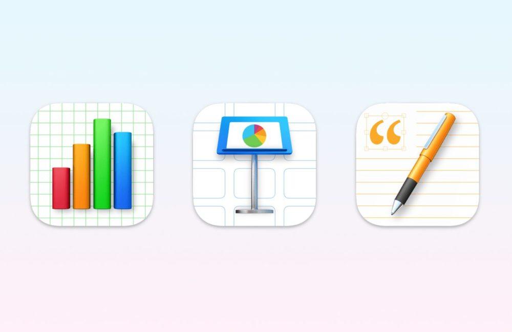Suite iWork Apple Icones Big Sur Nouvelle version de Pages, Numbers et Keynote : fonctionnalités diOS 15 et de macOS Monterey ajoutées