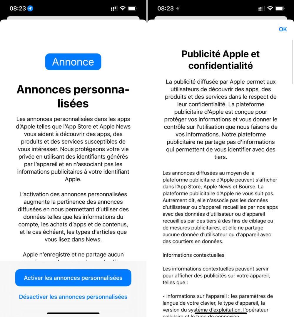 iOS 15 App Store Publicites Personnalisees iOS 15 : un pop up invite les utilisateurs à activer ou non les publicités personnalisées Apple