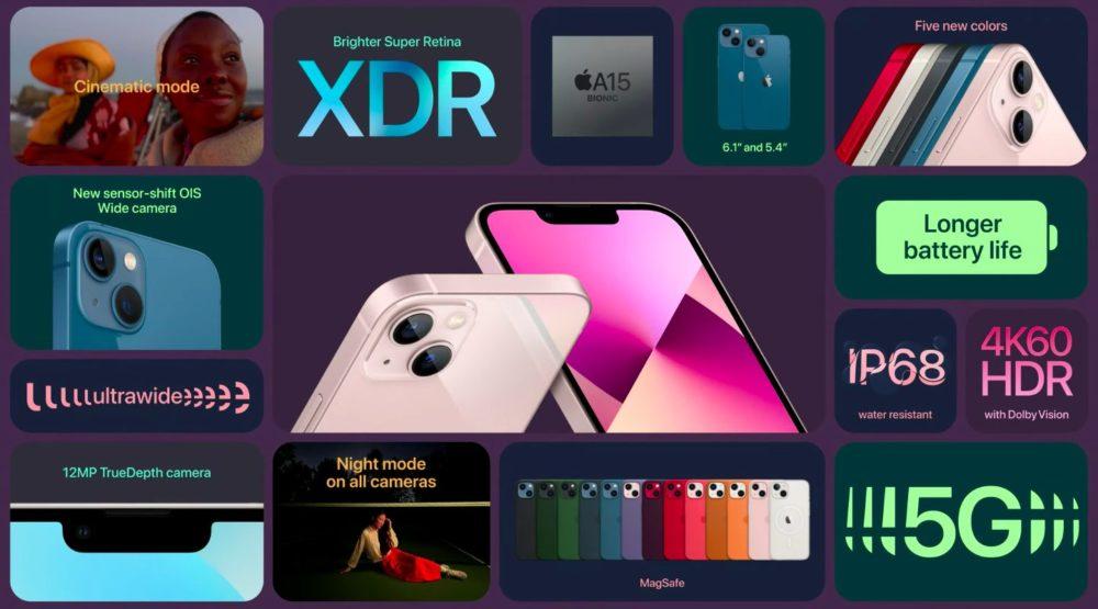 iPhone 13 iPhone 13 mini Nouveautes Voici liPhone 13 et iPhone 13 mini : puce A15, encoche plus petite, Cinematic Mode pour la vidéo...