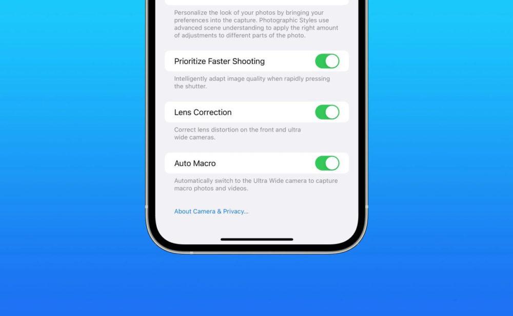 Auto Macro Commutateur iOS 15.1 bêta 3 dispose dune option pour désactiver le mode macro automatique sur les iPhone 13 Pro