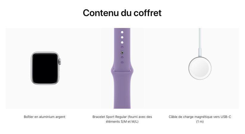 Contenu du coffret Apple Watch SE Apple Store LApple Watch SE est désormais vendue avec un câble USB C dans la boîte